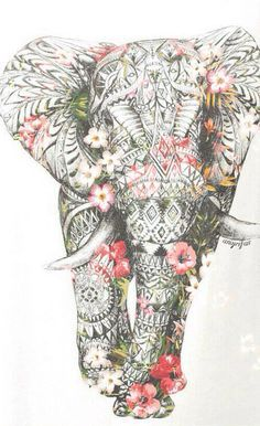 iPhone wallpaper. Floral elephant