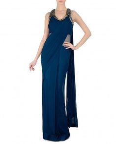 Prussian Blue Sari Gown with Embellished Back