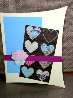Lifestyle Crafts die for card base, DCWV paper and Recollections 3D cupcake sticker.