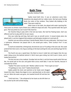 This Reading Comprehension Worksheet - Bath Time is for teaching reading comprehension. Use this reading comprehension story to teach reading comprehension. Reading Comprehension Worksheets, Reading Fluency, Reading Strategies, Reading Skills, Comprehension Exercises, Reading Test, Third Grade Reading, Teaching Reading, Have Fun Teaching