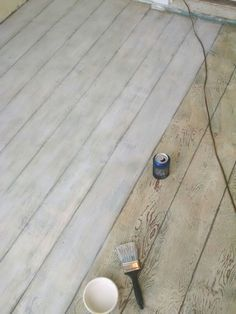 Plywood floor... Drew lines for boards and dry brush painted with white chalk paint
