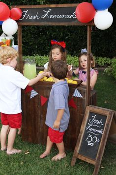 Is there anything better than a lemonade stand? Whether you are throwing a backyard BBQ, a 4th of July party or just setting one up in the front yard; a lemonade stand will be a hit with the kids!