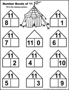Free Math Printable number bonds of 11 Number Bonds Worksheets, Free Math Worksheets, Kindergarten Math Worksheets, Teaching Math, Math Activities, Teaching Geography, Math Games, Maternelle Grande Section, Eureka Math