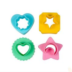Coolrunner 4pcs Double-faced Geometric Shape Flower, Moon, Star, Heart Sandwich, Sushi, Bread, Rice, Fruit, Biscuit Mold Fondant Mold Cookie Cake Decorating Cutter Set * Wow! I love this. Check it out now! : Cake Pop and Mini Cake Makers