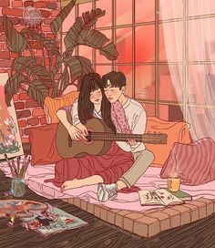 """""""Practice"""" Adobe Photoshop CC 2017 Here's a lil something I worked on last night. My cat got mad at me for not going to sleep, and around… Cute Couple Drawings, Cute Couple Art, Anime Love Couple, Couple Cartoon, Cute Drawings, Paar Illustration, Music Illustration, Couple Illustration, Watercolor Illustration"""