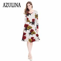 Find More Dresses Information about AZULINA Plus Size Vintage Dress Women  Office Elegant Work Wear Long 9b2eb33db249