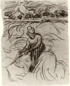 Vincent van Gogh: Woman Working in Wheat Field, Auvers-sur-Oise: June-July, 1890 (Amsterdam, Van Gogh Museum)