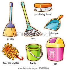 Vector illustration of Cartoon Cleaning supplier vocabulary