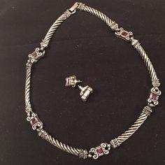 NWOT Fine Necklace and Earrings Set NWOT Beautiful Silver /Purple necklace and earring set. Never worn. Jewelry
