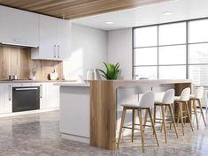 Beautiful Kitchen Designs, Modern Kitchen Design, Beautiful Kitchens, White Appliances, Kitchen Cabinets, Table, Furniture, Color, Home Decor
