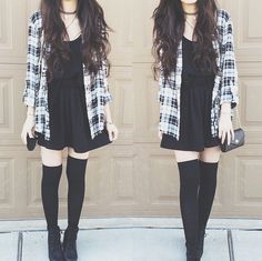 Knee socks * outfit ideas * korean fashion amino в яндекс. Mode Outfits, Fall Outfits, Casual Outfits, Fashion Outfits, Womens Fashion, Punk Outfits, Black Outfits, Church Outfits, Casual Dresses
