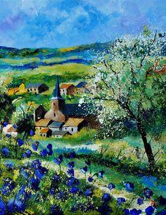 Kunstwerk: 'Voorjaar in vitrival' van pol ledent Contemporary Landscape, Landscape Art, Summer Landscape, Landscape Paintings, Impressionism Art, Cool Artwork, Art Images, Buy Art, Scenery