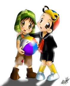 Cute Here is an appeal to our beloved actors, Roberto Gómez Bolaños and Carlos Villagrán Eslava, who moved away from each other and still keep heartb. Chibi - Chaves(Chavo) e Quico Chibi, Chester Cat, Mexican Party Decorations, Funny Caricatures, Celebrity Caricatures, Marvel Comics Superheroes, Mini Pigs, Anime, Manga