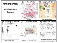 Kindergarten Writing Rubric- Could have kids use this for self assessment to decide what level they are at and what they need to do to get to the next level!  May have to make one of these for next year instead of the checklist!  They can SEE if they need spaces, ending marks, to hear more sounds in words, more detailed pics... Brilliant! -Darla