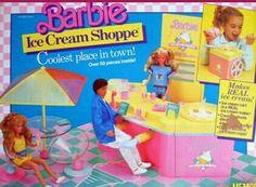 1987 Barbie Ice Cream Shoppe. Remember the ice cream cart was a real ice cream maker that didn't work.  G;)
