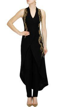 Black bugal beads and sequins embellished asymmetric jacket set - Gaurav Gupta
