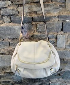 B. Makowsky Ivory Fold Over Hobo Bag