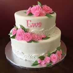 Floral Christening Cake Cross Cakes, Christening, Floral, Desserts, Food, Tailgate Desserts, Deserts, Flowers, Essen