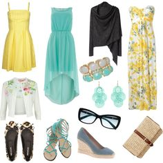 """""""Ladies Beach Wedding Attire"""" In turquoise, Yellow, and whites. This is meant for the beach, but also works for a garden."""