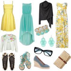 """Ladies Beach Wedding Attire"" In turquoise, Yellow, and whites."