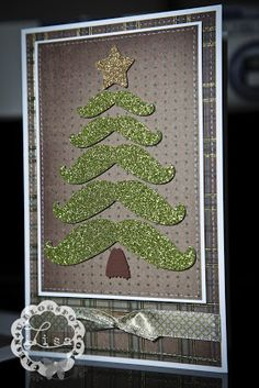Handmade Creations By LiSa: Mustache Tree Card. Homemade Christmas Cards, Christmas Cards To Make, Xmas Cards, Christmas Greetings, Homemade Cards, Handmade Christmas, Holiday Cards, Christmas Crafts, Christmas Ideas