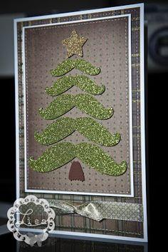 CRe8n4u Handmade Creations By LiSa: Mustache Tree Card... Merry Christmas! christma card, christmas cards, moustach, mustach tree, christma tree, christma idea, tree card, christmas ideas, christmas trees