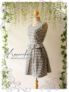My Beloved Day Dress Black Gingham Sleeveless Tea Party Garden Cocktail Dress Timeless Vintage Inspired Dress -Size S-