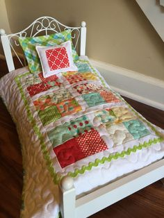 3 Piece Quilted Doll Bed Set Quilt Pillow by Greenerbeginnings