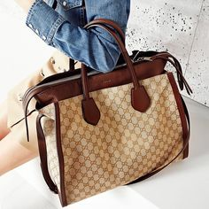 """Gucci's """"Ramble"""" large tote bag -reversible leather and monogram GG canvas"""