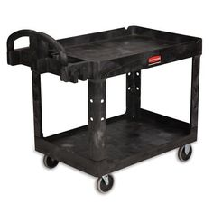 RUBBERMAID Heavy-Duty Tray-Shelf Carts - Black by RUBBERMAID®. $212.00. Ships unassembled to save freight costs-universal uprights make set up quick and easy. RUBBERMAID Heavy-Duty Tray-Shelf Carts handle both industrial and commercial loads. Structural foam construction includes a leakproof top with rounded corners to protect walls, furniture, and equipment. Top shelf will accommodate hook-on utility basket (sold separately). Handle includes built-in tool storage a...