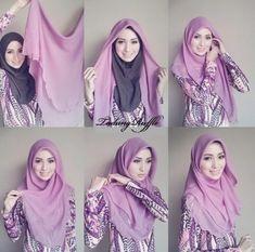 These hijab tutorials are owned by hijab… Tutorial Hijab Segitiga, Square Hijab Tutorial, Simple Hijab Tutorial, Pashmina Hijab Tutorial, Stylish Hijab, Hijab Chic, Muslim Women Fashion, Modest Fashion, Islamic Fashion