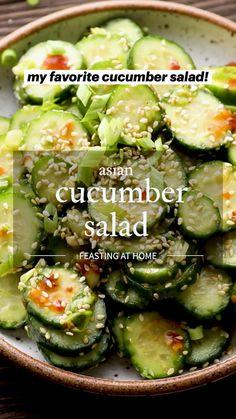 Cucumber Recipes, Vegetable Recipes, Vegetarian Recipes, Healthy Recipes, Asian Cucumber Salad, Vegetable Salads, Plant Based Diet, Plant Based Recipes, Whole Food Recipes