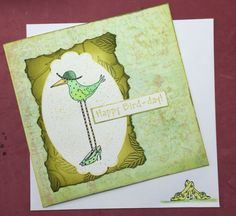 Birthday card made using stampotique rubber stamps