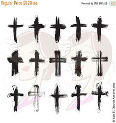 SALE Brush Christian Crosses Catholic Faith Brushstroke Paintstroke Rustic Grunge VECTOR Clipart DIY Sympathy Wedding Card Scrapbook Craft 1