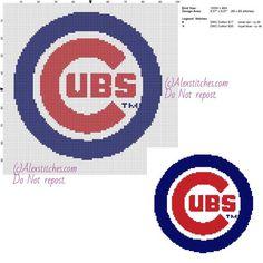 Chicago Cubs free logo Major League Baseball MLB cross stitch pattern 100x98 2 colors