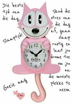 A pink cat shaped wall clock with moving eyes and swinging tail would look very nice on the wall.