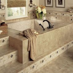 Luxurious stone tile bathroom design - Discover home design ideas, furniture, browse photos and plan projects at HG Design Ideas - connecting homeowners with the latest trends in home design & remodeling Home, Bathtub Tile, Modern Bathroom, Bathroom Tile Designs, Bathroom Flooring, Bathtub Design, Bathrooms Remodel, Bathroom Design, Bathroom Decor