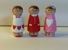 Items similar to Peg people Valentine girls set of 3 valentines day gift love note on Etsy Wood Peg Dolls, Clothespin Dolls, Valentine Day Gifts, Valentines, Plant Crafts, Operation Christmas Child, Wooden Pegs, Bottle Crafts, Doll Accessories