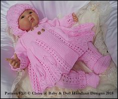"""Babydoll Handknit Diseños Tejer patrón flor Motif Vestido Set 8-13/"""" Muñeca"""