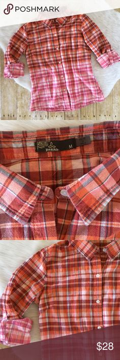 """Prana organic cotton plaid button down shirt Cute two toned plaid shirt by Prana. Roll tab sleeves, 100% organic cotton. Great condition!! Measures 19"""" from underarm to underarm and 25"""" long. Prana Tops Button Down Shirts"""