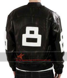 Men 8 Ball Bomber Black Jacket