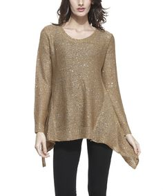 Taupe Sequin Sidetail Tunic