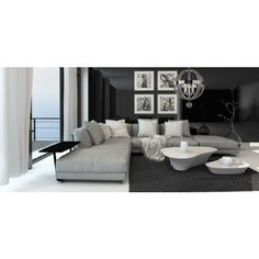 Picture of Lounge interior with a dark accent wall and floor-to-ceiling window overlooking the ocean furnished with a comfortable beige lounge suite and modern tables stock photo, images and stock photography. Dark Accent Walls, Lounge Suites, Floor To Ceiling Windows, Luxury Accommodation, Modern Table, Decoration, Flooring, Living Room, Furniture