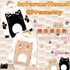 Want a new look? Happy shopping use discount code #March for 15$ off on 100$, code valid till Mar 8th, 2017. Pretty Giveaway begins! Prize is one  Kawaii Kitten Sister Hoodie Jumper. 1. Follow @spreepicky 2. Like and Repin this pic  3. Finish above and enter here: https://goo.gl/w68BMV 4.Ends on March 8th,2017