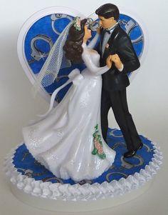 Wedding Cake Topper Camo Camouflage Clear Bride Groom Couple Dancing Green Fun