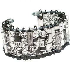 Paper Bead Jewelry- Upcycled Black & White Comic Book Bracelet Cuff by Tanith for $40.00