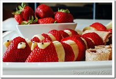 "Fruit platter ""snakes"" using bananas and strawberries. 2013 year of the ""wise"" snake."