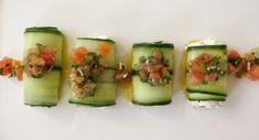 Rouleaux de concombre à la ricotta, sauce vierge Ricotta, Zucchini, Sushi, Vegetables, Ethnic Recipes, Cucumber Roll Ups, Food, Beauty, Food