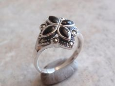Onyx Marcasite Ring Marsala Floral Cross Sterling by cutterstone, $44.00