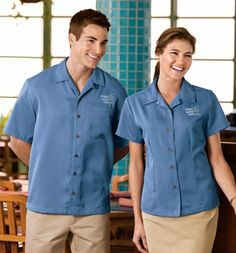 This classic camp shirt is perfect for upscale service environments. Made from no-fuss fabric, this shirt has faux- coconut shell buttons and it's designed to keep its great looks wear after wear. - Arizona Cap Company - (480) 661-0540 Custom Printed & Embroidered